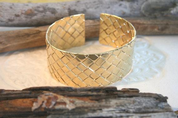 Gold Cuff Bracelet - Wide Cuff - 18K Gold Plated