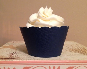 Navy Blue Cupcake Wrappers for  Weddings Showers Celebrations