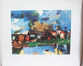 Vintage Fine Art Print. Dresden by Oskar Kokoschka. Direct Lithographic Reproduction. Authenticity Sticker. Numbered.