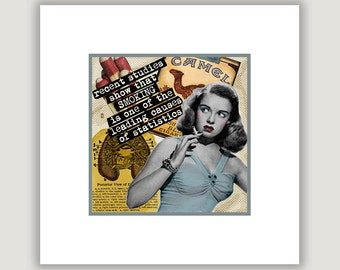 Smoking Statistics, cigarette humor, retro smoking art, funny smoking print, smoker gift, smoking humor, quit smoking, satire, cigarette art