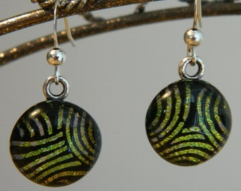 Dichroic Fused Glass Earrings, Golden Swirls