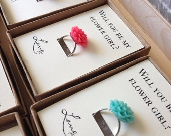 CUSTOM and ADORABLE flower girl adjustable rings many fun colors to match your wedding colors