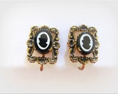 Vintage Victorian Style Glass Cameo Floral Clip Earrings