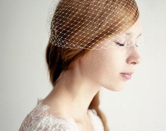 "Birdcage Veil, Blusher French Netting Veil, Wedding, Bridal Veil - 12"""