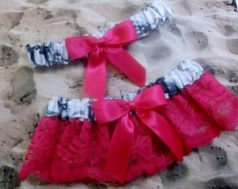 Snow Camo Hot Pink Ribbon Hot Pink Lace Wedding Garter Toss Set
