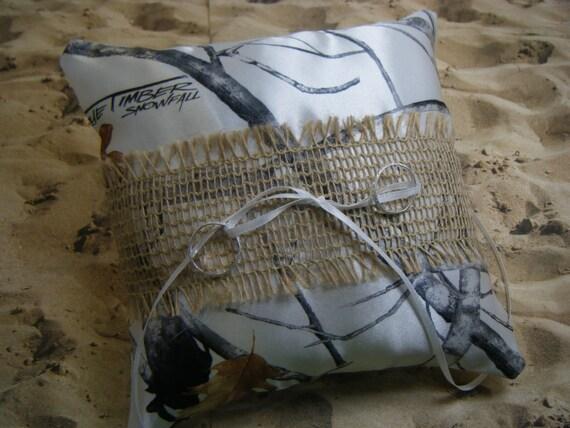 Snow Camo Camouflage Burlap White Satin Wedding Ring Bearer Pillow