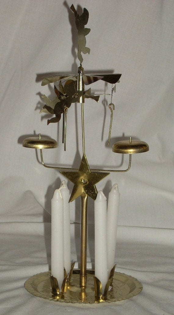 Brass Swedish Angel Chimes Christmas Windmill Candle By
