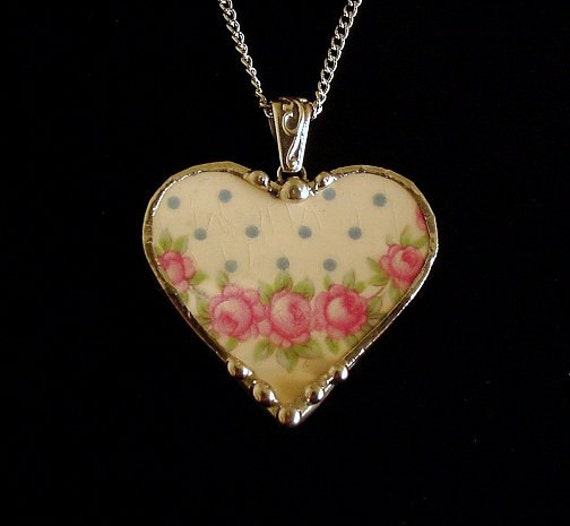 Broken china jewelry heart pendant necklace antique pink roses Victorian