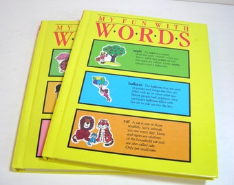 Two Vintage Children's Books My Fun With Words Dictionary