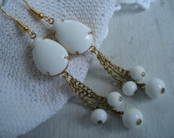 Vintage White Milk Glass Gold Teardrop and Beaded Dangle Earrings