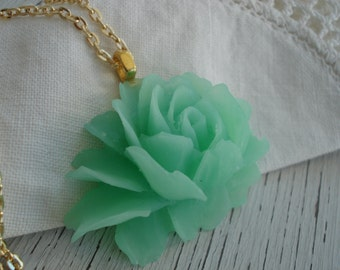 Vintage Celluloid Rose Matte Iced Mint Green Flower Pendant Gold Necklace Nature Inspired