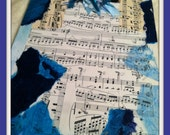Clipboard Blue with Vintage Sheet Music