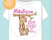 Big Sister to Twins Shirt or Onesie, Monkey Shirt, Big Sister Monkey with twin babies 1 girl 1 boy, Personalized Big Sister (02042014e)