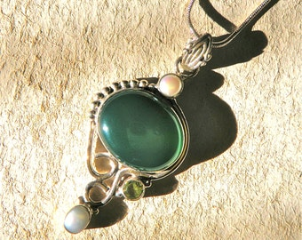 Green Chalcedony, Topaz, and Pearl Necklace
