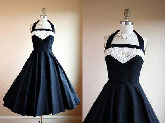 1950s Dress Vintage 50s Dress Black White Halter Daisy
