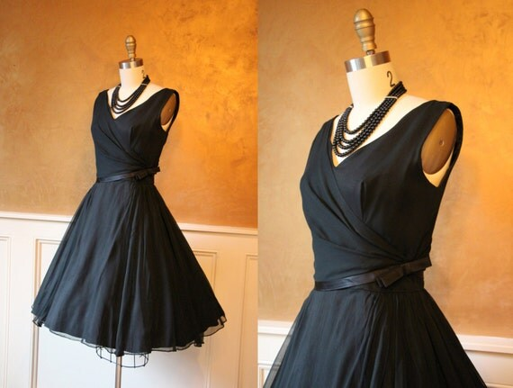 1950s Dress - Vintage 50s Dress - Black Silk Chiffon Greek Goddess Cocktail Party Dress S - That Inevitable Love