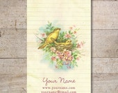 Business Cards - Custom Business Cards - Jewelry Cards - Earring Cards - Display Cards - Vintage Birds with Flowers - No. 40