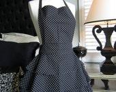 Diva Lingerie Apron - Black and White polka dot sexy apron.