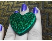 RESERVED FOR SharonKnox** Kelly Green Glitter Heart Adjustable Cocktail Ring ****SALE!!!!****