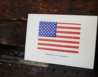 Independence Sweet Independence - 4bar Letterpress Card