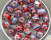 Beads Moretti Millefiori Art Glass, Venetian Red/White/Blue , Evil Eye Antique, Ring, Tube,  Striped OT66.OT2000.B1670.B2083.OT4.OT46*