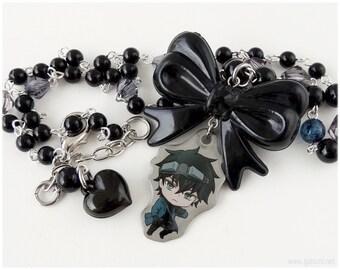 Karneval Gareki Necklace, Beaded Rosary Chain, Black Bow Pendant - Gothic Lolita, Anime