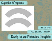 Scrapbook Digital Collage Photoshop Template, Cupcake Wrappers