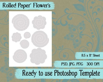 Popular items for rolled paper roses on etsy for Rolled paper roses template