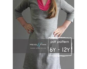 Wonderland Dress PDF pattern and tutorial 6-12 EASY SEW tunic dress jumper