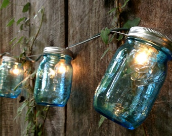 ON SALE Heritage Collection Mason Jar Strand with Light - Full Pint Blue