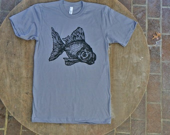 Goldfish T-Shirt / Black Moor Fish Design / Hipster Tee on American Apparel Men's / Unisex Slate Tshirt
