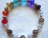 Chakra Eternity: Stretchy Bracelet in Rainbow glass and silver beads