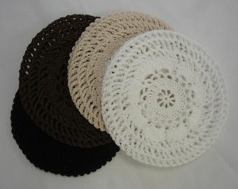 Hair Net / Bun Cover Medium Sz Set of 4 Flower Style Crocheted Black Brown Natural White