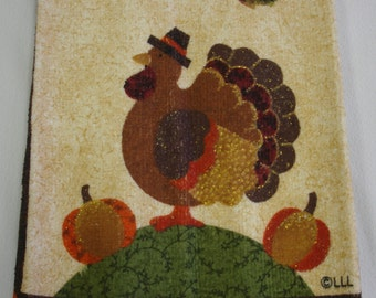 Turkey Hanging Hand Towel Thanksgiving with Buttoned Brown Cotton Top