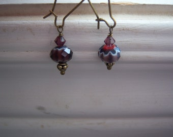 Purple Earrings - Purple Glass Earrings - Vintage Style Earrings - Moroccan Earrings
