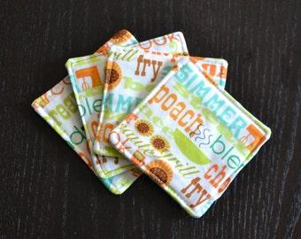 Cotton Coasters / Fabric Coasters / Vintage-Inspired Fabric Coaster Set / Drink Coasters