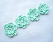 Appliques hand crocheted flowers motif  set of 4 mint green cotton 1.5 inch