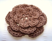 Crochet big flower motif 5 inch brown bear wool silk