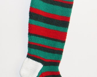 S14 Striped Christmas Stocking - Bright Red, Kelly Green