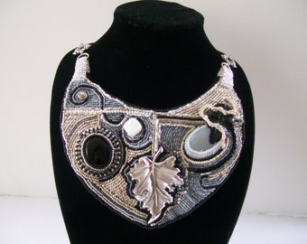Glamour Armor - Statement Necklace Bib Necklace Bead Embroidery, Trifari Pin