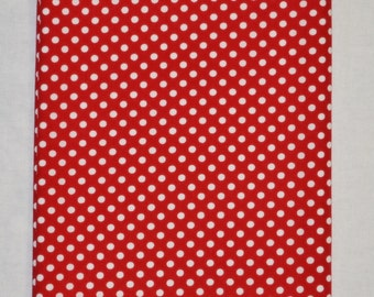 Retro Red & White POLKA DOTS Reversible Reversable Triple Layer Cotton Table Runner 38.1 x 10.75 Inches