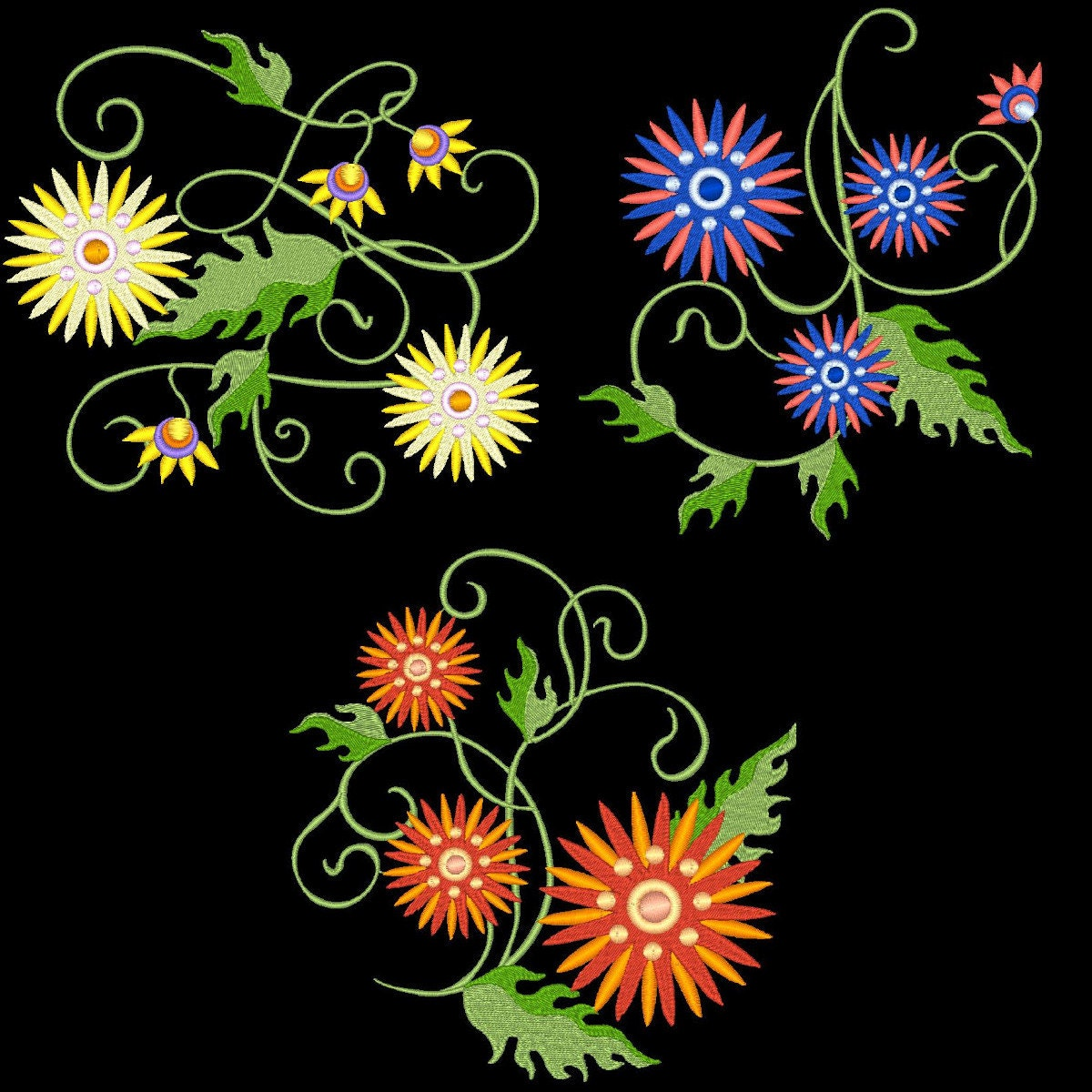 Machine Embroidery Design Roses And Carnations