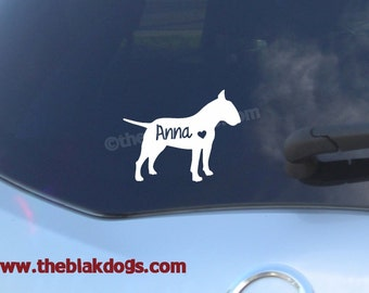 Bull Terrier Silhouette Vinyl Sticker Car Decal Personalized