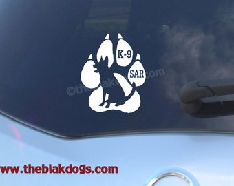 Search and Rescue Silhouette Vinyl Sticker - personalized Car Decal