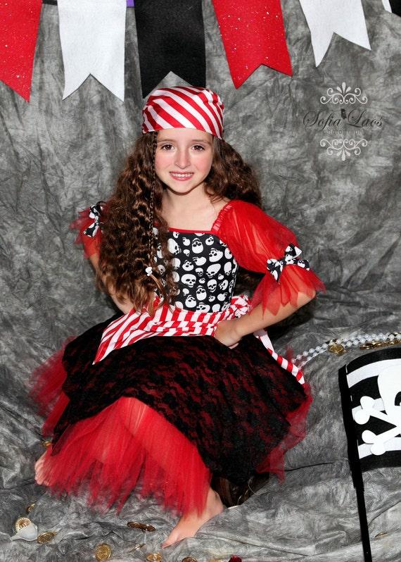 Pirate costume Red Pirate skull tutu costume 3t