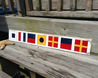 Nautical Beach Sign CUSTOM flags Spell Your Name
