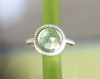 Rose Cut Prehnite Sterling Silver Ring, Gemstone Ring, In No Nickel / Nickel Free, Granulated Ring - Made To Order