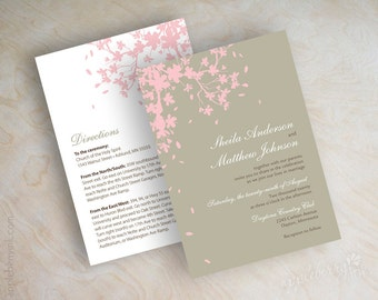 Cherry tree branch wedding invitations, cherry tree blossoms silhouette wedding stationery, french gray, pink and brown, Adela
