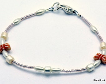 Sale / On Sale / Clearance Jewelry / Jewelry on Sale / Communion White with Orange Butterfly Glass Beaded Silver Plated Bracelet - BR00467