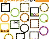 Buy 2, Get 1 FREE - Happy Halloween Frames Clipart - Digital Halloween Frames Clipart - Instant Download